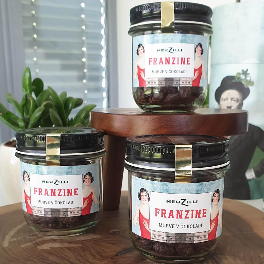 Franzine Murve Oblite S čokolado V Stekleni Embalaži, 90 G